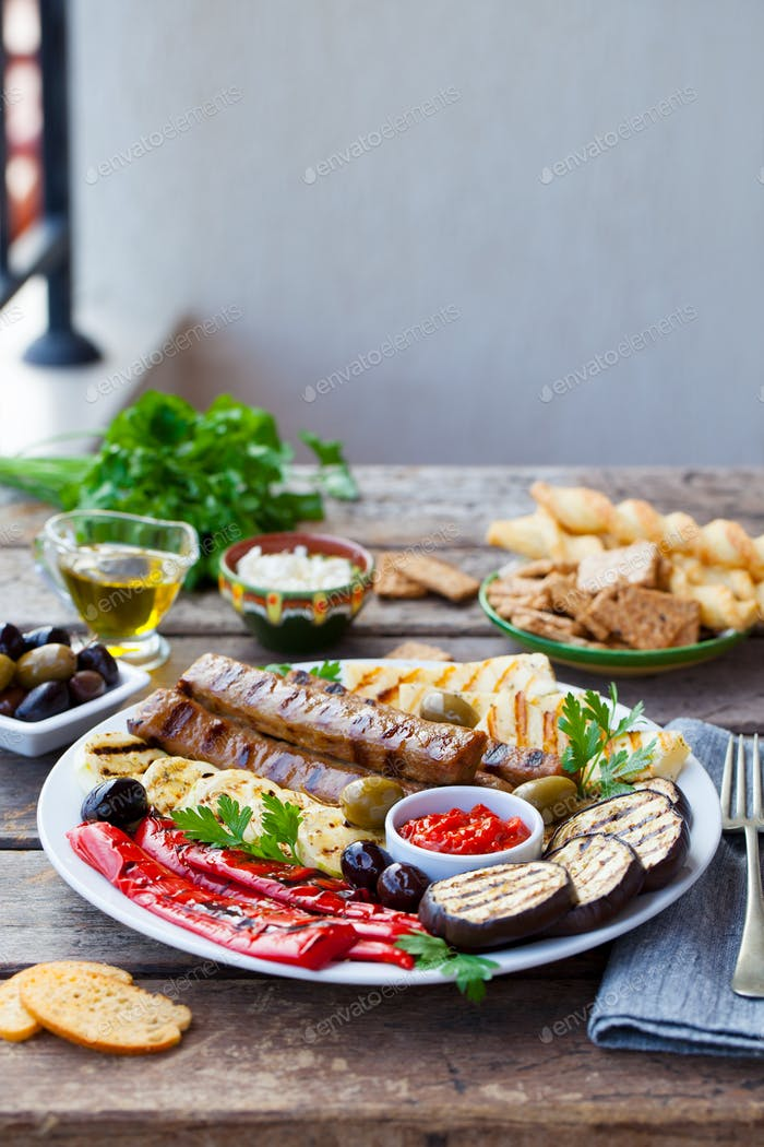 Kebab. Traditional Meat Kebab with Grilled Vegetables. Copy Space.