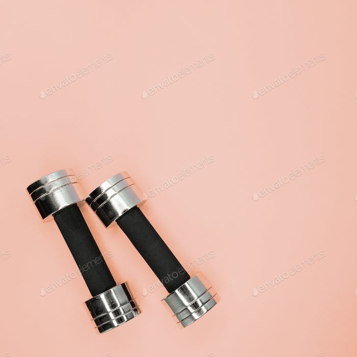 Metal small dumbbells on a pink background