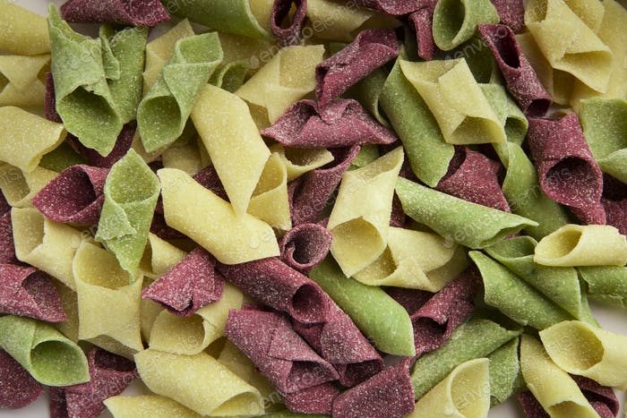 Mixture of colorful garganelli background