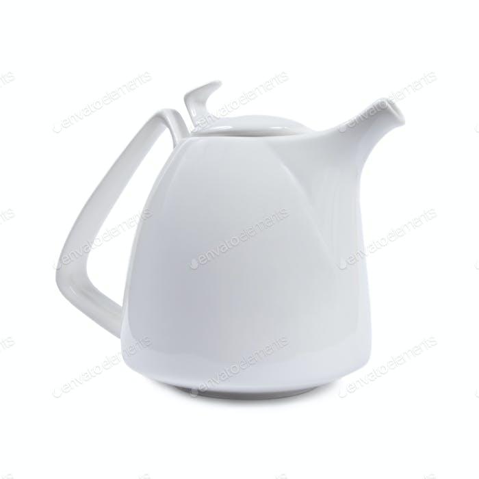 White porcelain teapot.