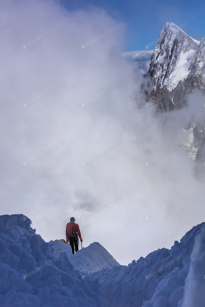 Climber on the Mont Blanc massif
