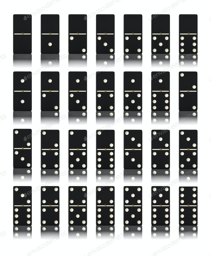 Domino game set isolated