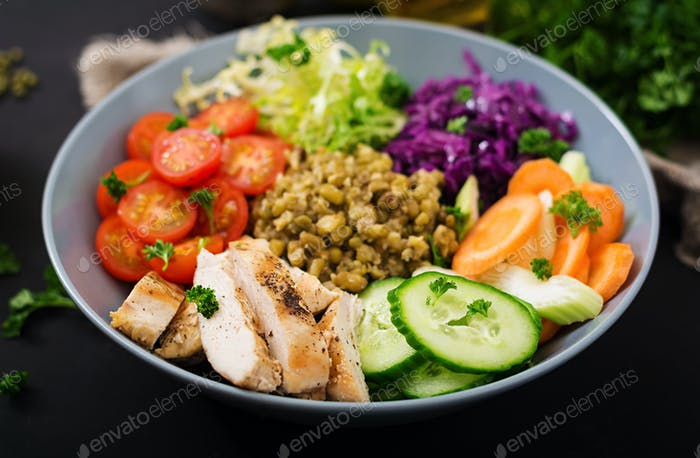Healthy salad with chicken, tomatoes,  cucumber, lettuce, carrot, celery, red cabbage
