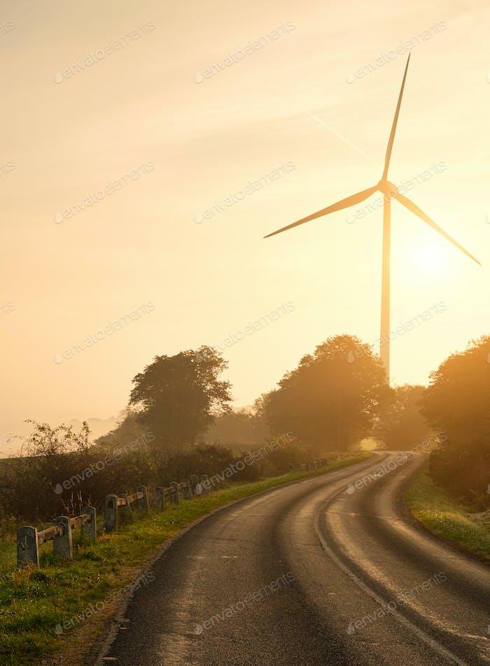 Wind turbines sunset