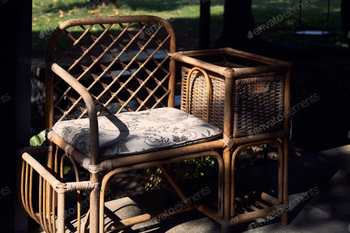 Wicker chair on the terrace