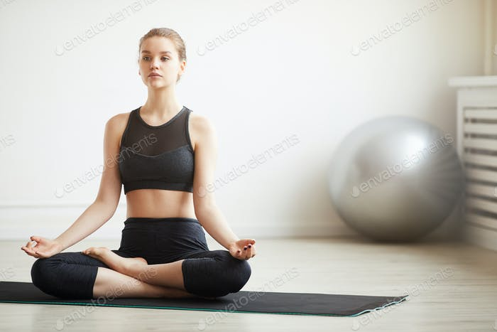 Healthy woman meditating