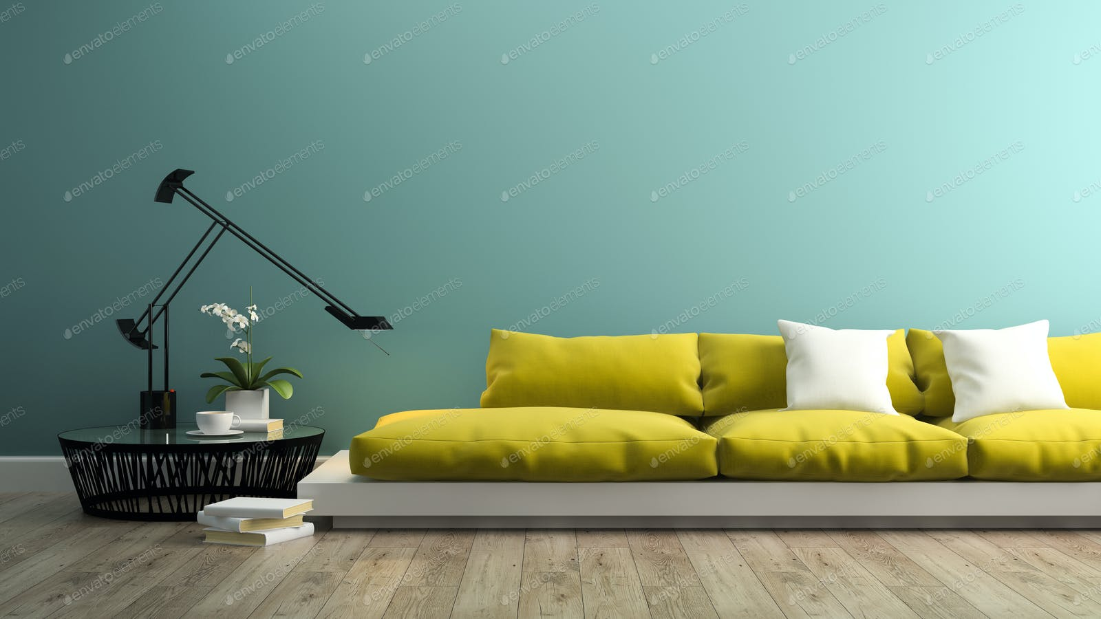 Part of interior with modern yellow sofa 3d rendering photo by hemul75 on  Envato Elements