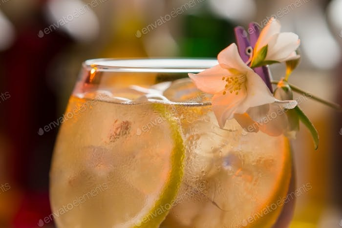 Slices of lemon in drink