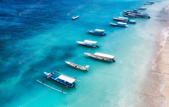 The view from the air on boats near the shore. Bali Island, Indonesia