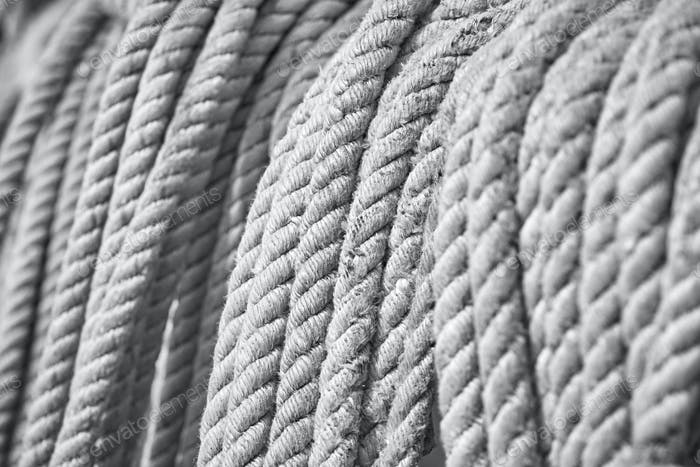 Black and white picture of old boat ropes.