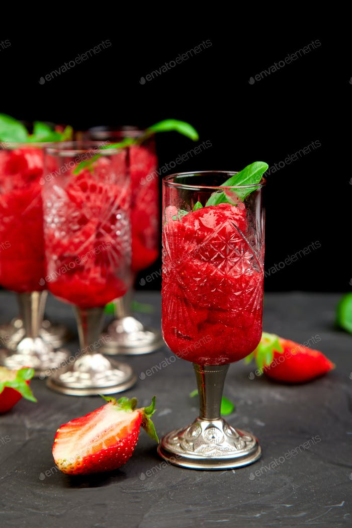 Summer refreshing strawberry granita