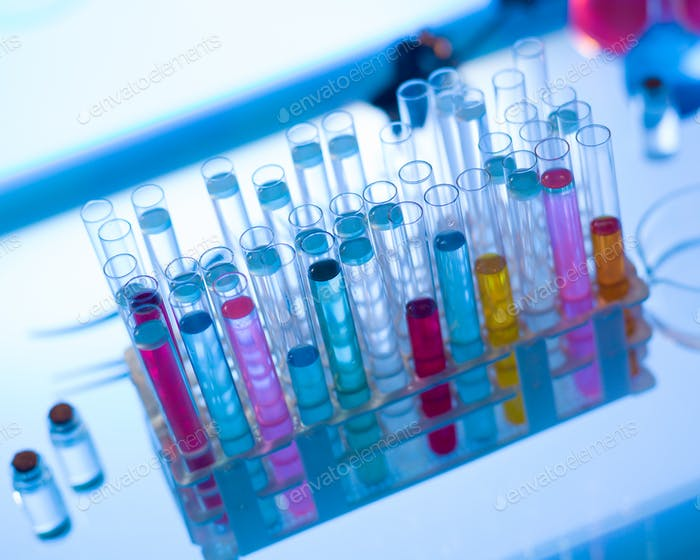 medical tubes with colorful fluids