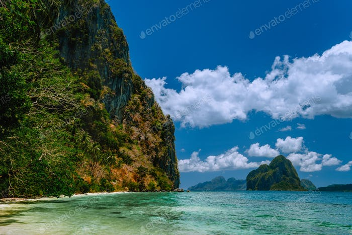 Vacation on beautiful tropical island, relax chill getaway enjoy summer in El Nido, Palawan island