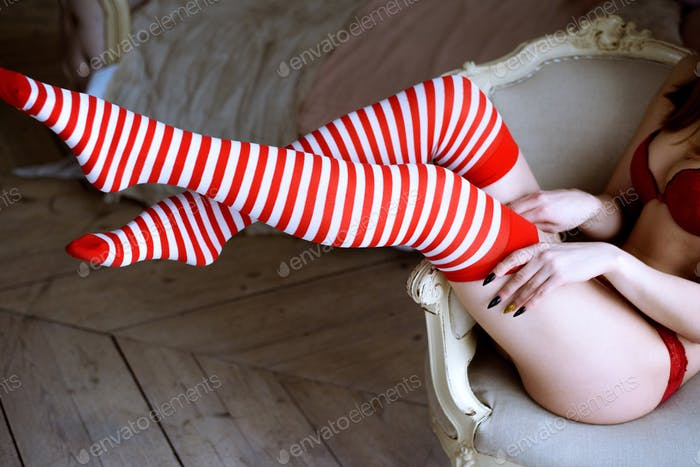 Beautiful sexy Santa Clause in elegant panties, stockings and bra