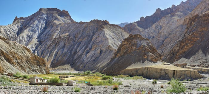 Hankar village with mountains at background along the Markha Valley trek, Ladakh, India