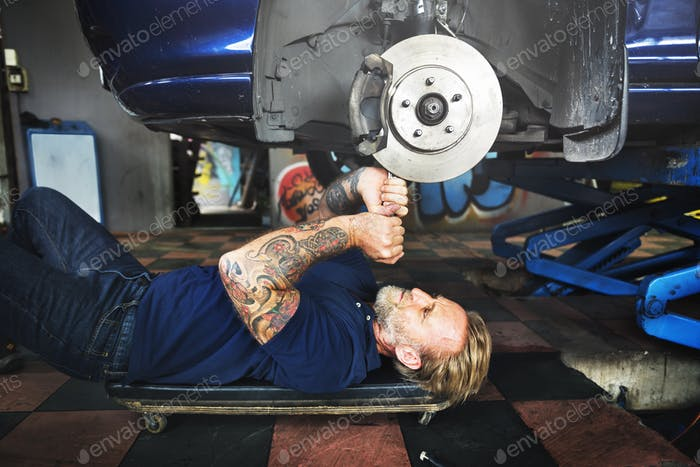 Garage Motor Maintenance Mechanic Fixing Spare Concept