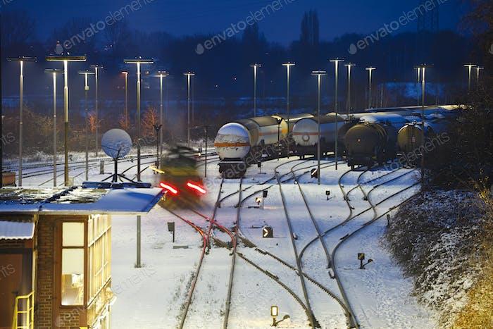 Industry Railroad Yard At Night