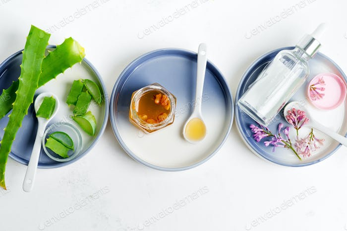 Natural ingredients for making cosmetic homemade lotion or essential oil on a light grey background