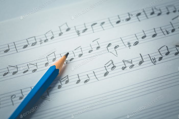 Random music notes with pencil. Music concept.
