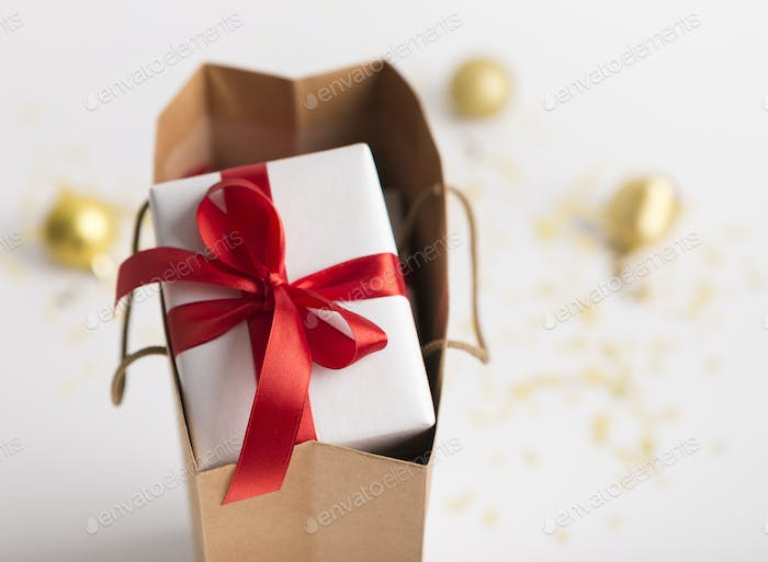 Christmas present box in shopping bag on white background