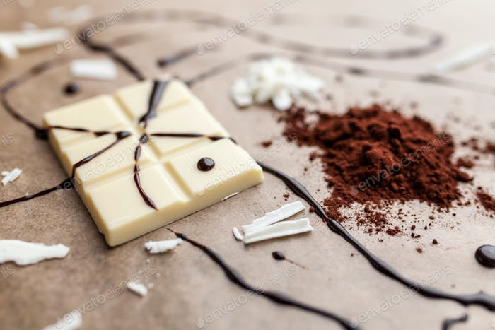 Delicious white chocolate and cocoa powder