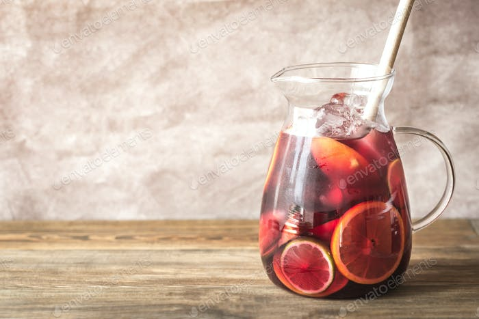 A pitcher of Spanish fruit Sangria