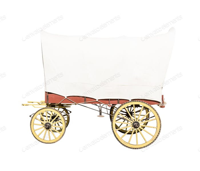 Wagon with white top covered