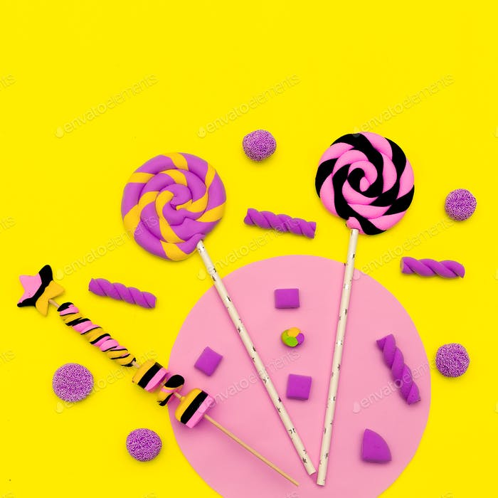 Lollipop. Sweet Candy Set. Fashion Flatlay art