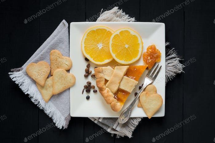 Scheibe Kuchen mit Orange