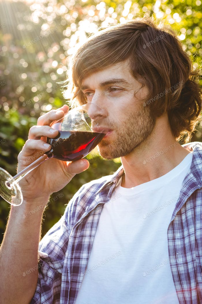 Serious man drinking red wine in the garden