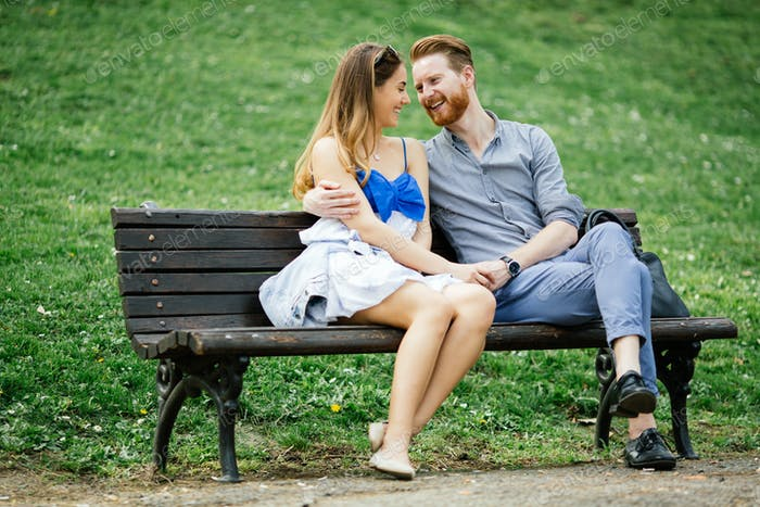 Romantic couple in park