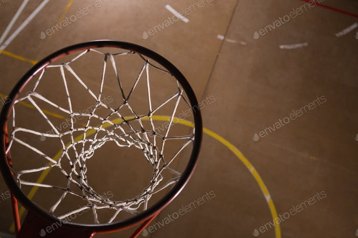 Basketball hoop in the court