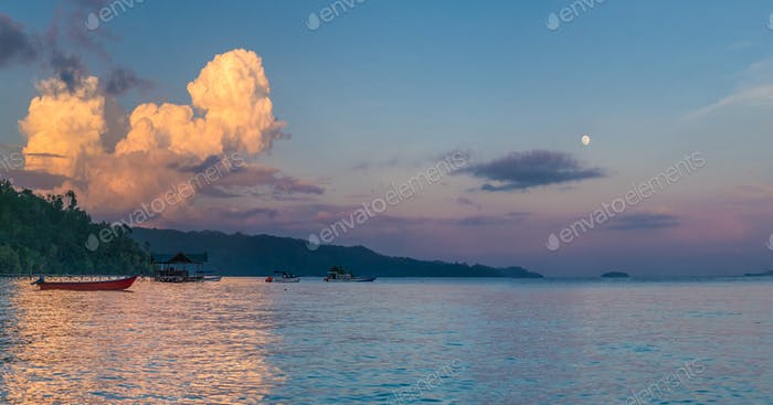 Huge White Clouds above Diving Station on Sunset, Moon in Sky, Homestay Gam Island, West Papuan