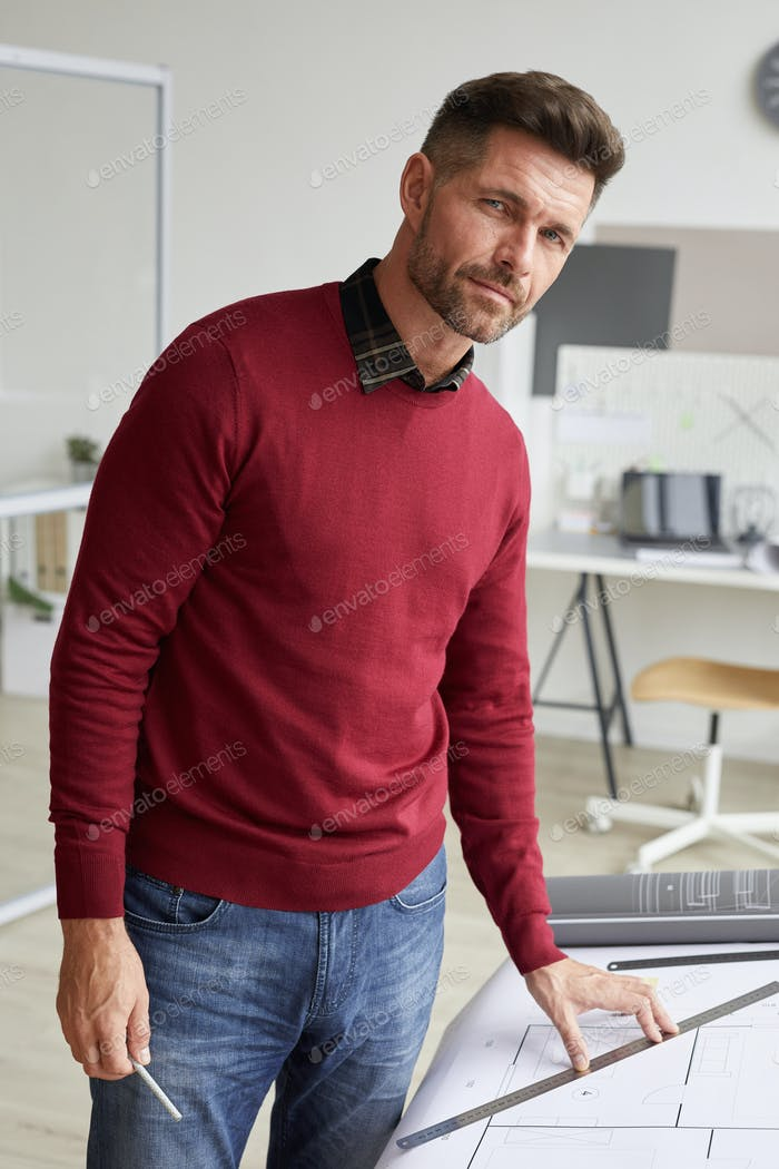 Bearded Architect Posing at Workplace