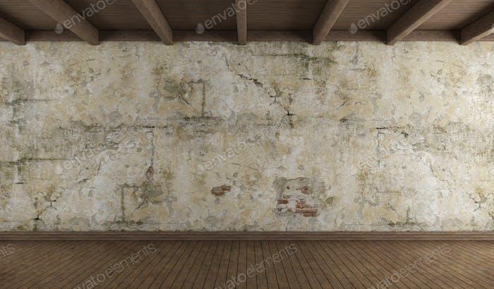 Leeres Zimmer mit alter Mauer und Hartholzboden
