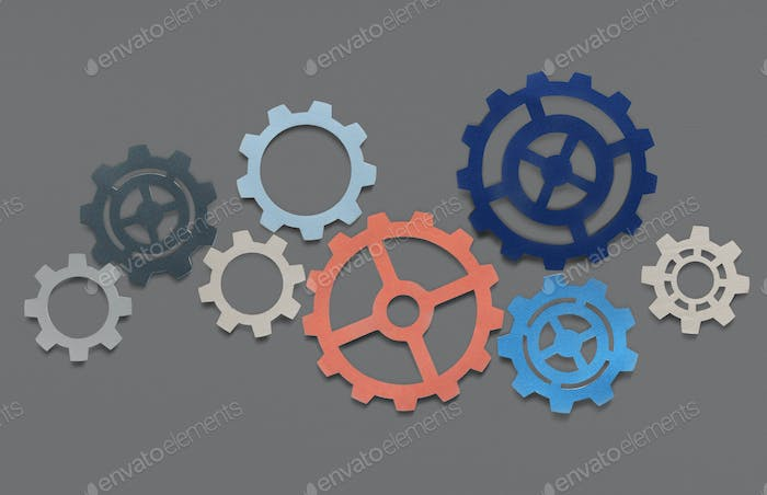 Support gears isolated on gray background