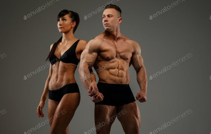 couple of bodybuilder and fitness women