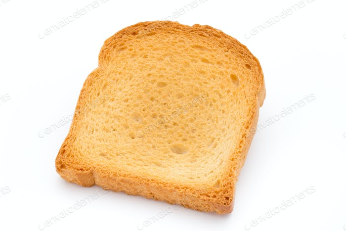 Slices of toast bread on wooden table, top view.
