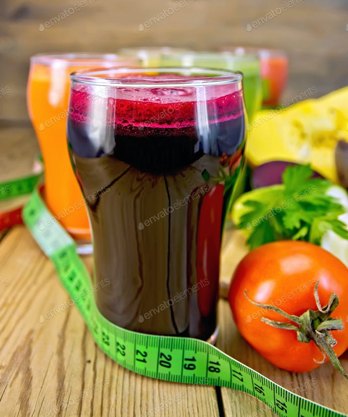 Juice beet and vegetable on board