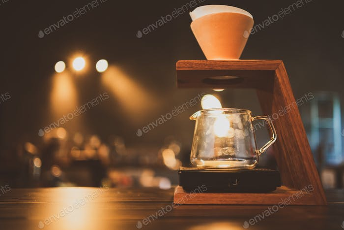 barista brewing a coffee filter drip in the morning, beverage drink with espresso aroma
