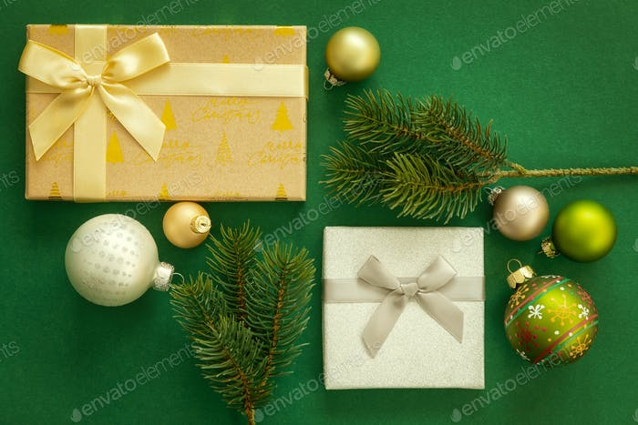Christmas decoration background green with gift box
