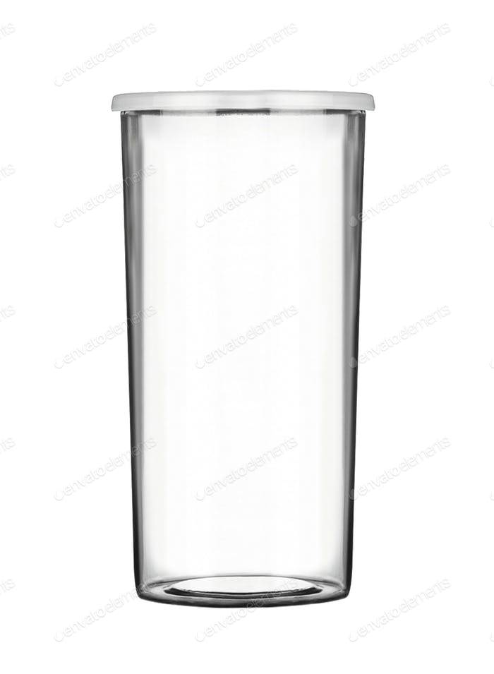 Empty plastic measuring cup isolated on white background