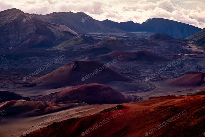 Landscape view of Haleakala national park crater at sunrise, Maui