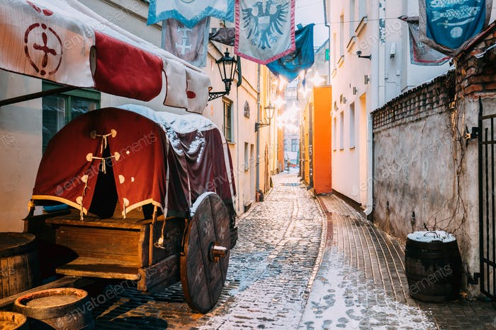 Riga, Latvia. Traditional Old Medieval Cart Is In Narrow Street