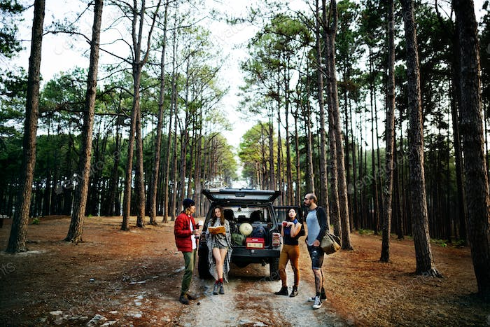 Camping Coffee Break Togetherness Friendship Concept