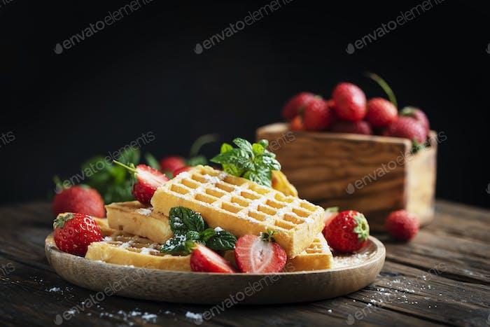 Homemade sweet waffle