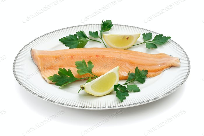 dish with trout fillet