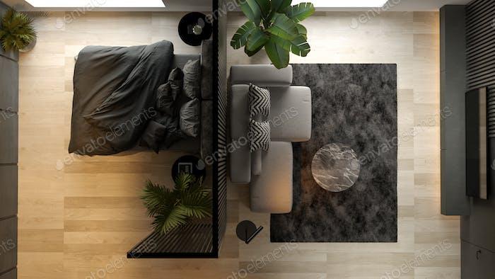 Top view Black minimalist Interior of modern living room 3D rendering
