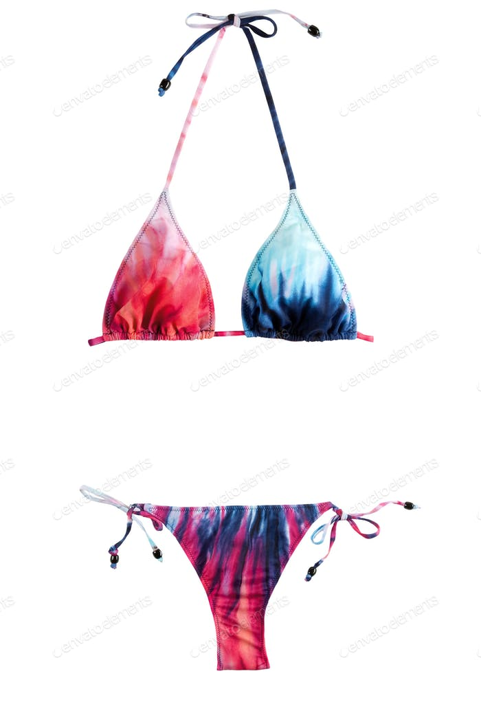 Tie dye red blue bikini