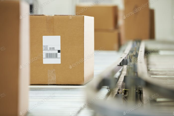 Goods On Conveyor Belt In Distribution Warehouse